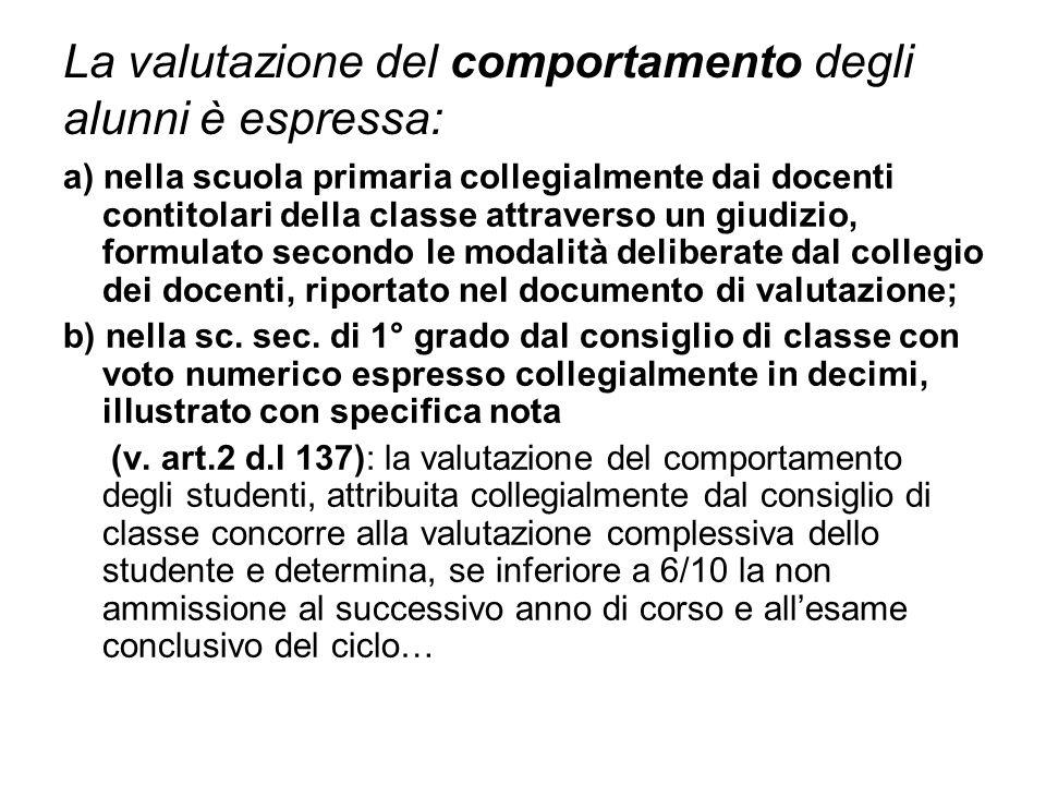 La valutazione del comportamento degli alunni è espressa: