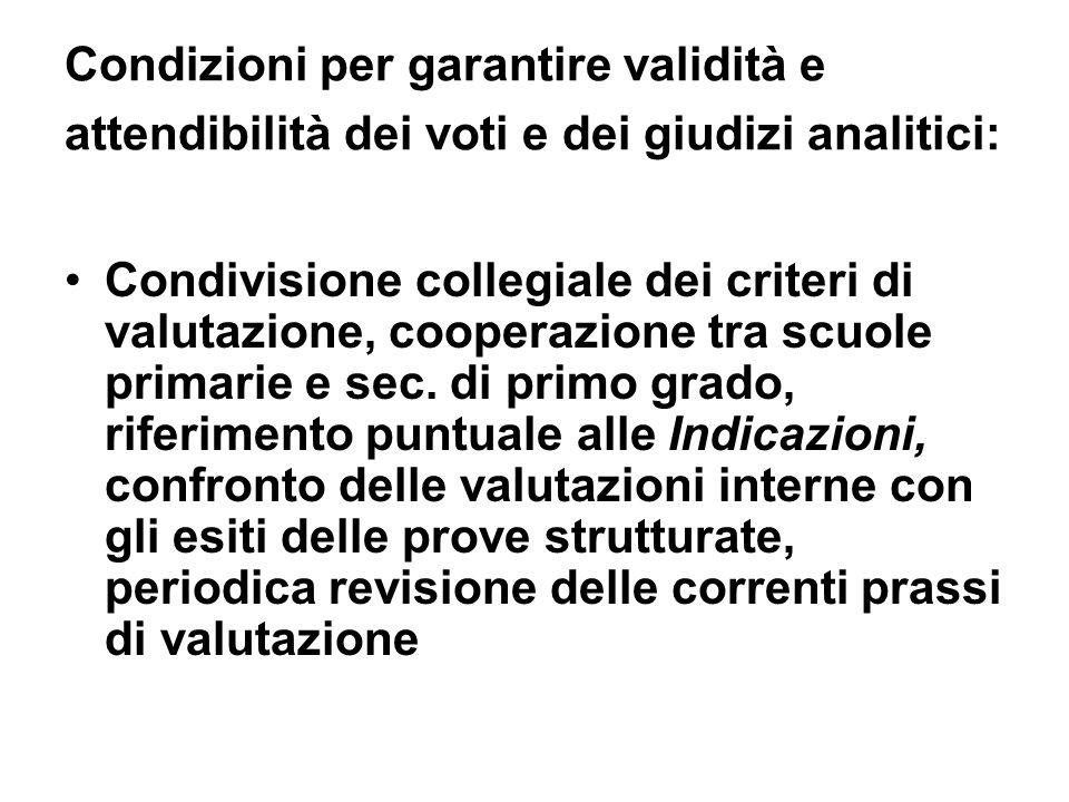 Condizioni per garantire validità e attendibilità dei voti e dei giudizi analitici: