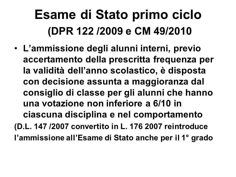 Esame di Stato primo ciclo (DPR 122 /2009 e CM 49/2010