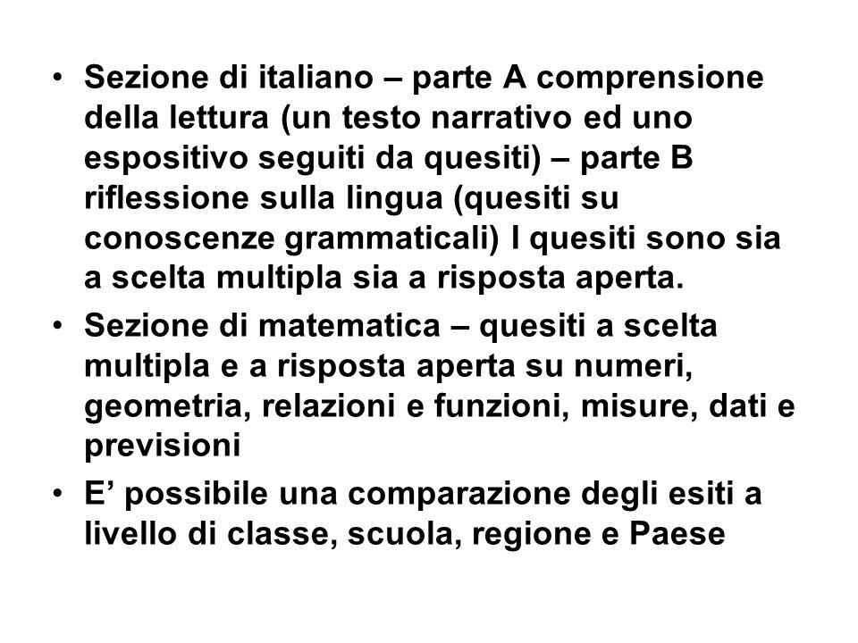 Sezione di italiano – parte A comprensione della lettura (un testo narrativo ed uno espositivo seguiti da quesiti) – parte B riflessione sulla lingua (quesiti su conoscenze grammaticali) I quesiti sono sia a scelta multipla sia a risposta aperta.