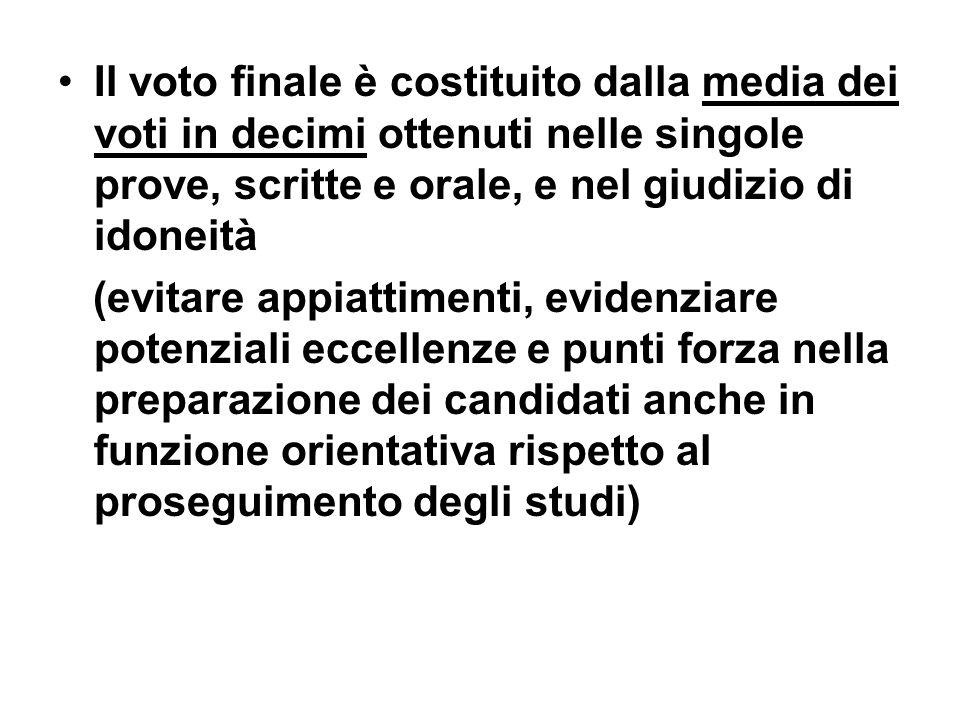 Il voto finale è costituito dalla media dei voti in decimi ottenuti nelle singole prove, scritte e orale, e nel giudizio di idoneità
