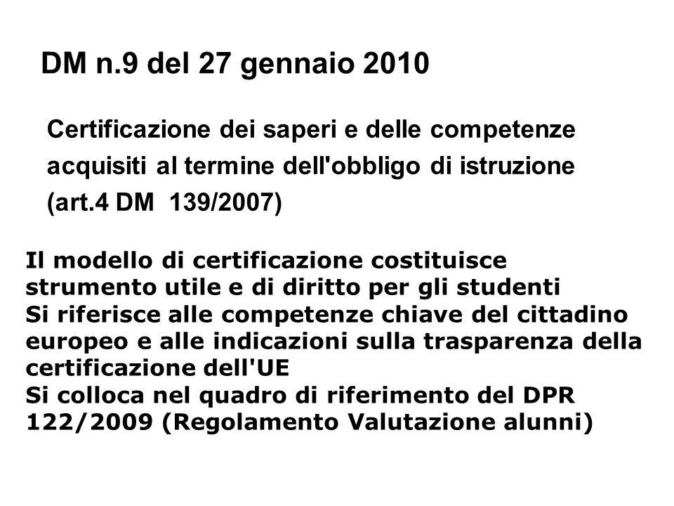 DM n.9 del 27 gennaio 2010 Certificazione dei saperi e delle competenze. acquisiti al termine dell obbligo di istruzione.