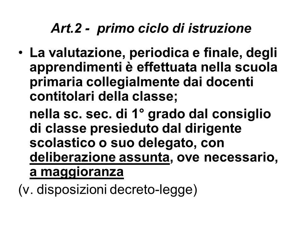 Art.2 - primo ciclo di istruzione