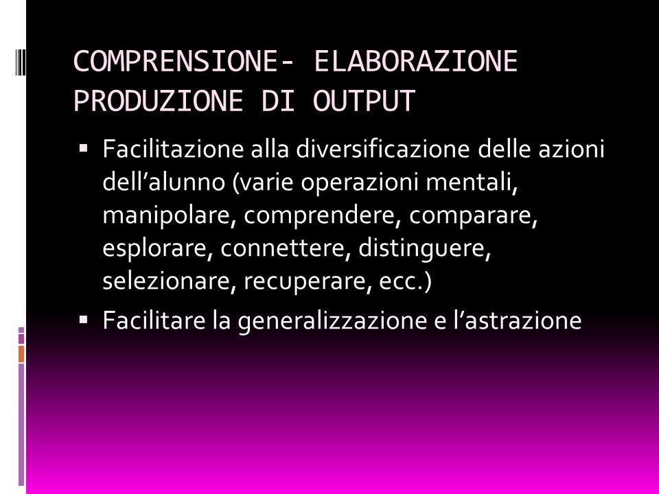 COMPRENSIONE- ELABORAZIONE PRODUZIONE DI OUTPUT