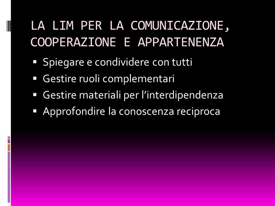 LA LIM PER LA COMUNICAZIONE, COOPERAZIONE E APPARTENENZA