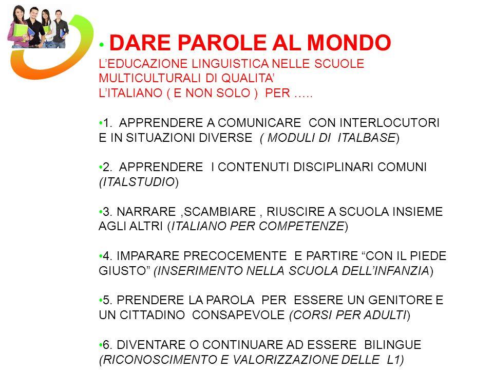 DARE PAROLE AL MONDO L'EDUCAZIONE LINGUISTICA NELLE SCUOLE MULTICULTURALI DI QUALITA' L'ITALIANO ( E NON SOLO ) PER …..