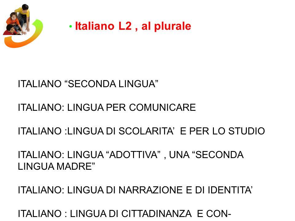 Italiano L2 , al plurale ITALIANO SECONDA LINGUA ITALIANO: LINGUA PER COMUNICARE. ITALIANO :LINGUA DI SCOLARITA' E PER LO STUDIO.