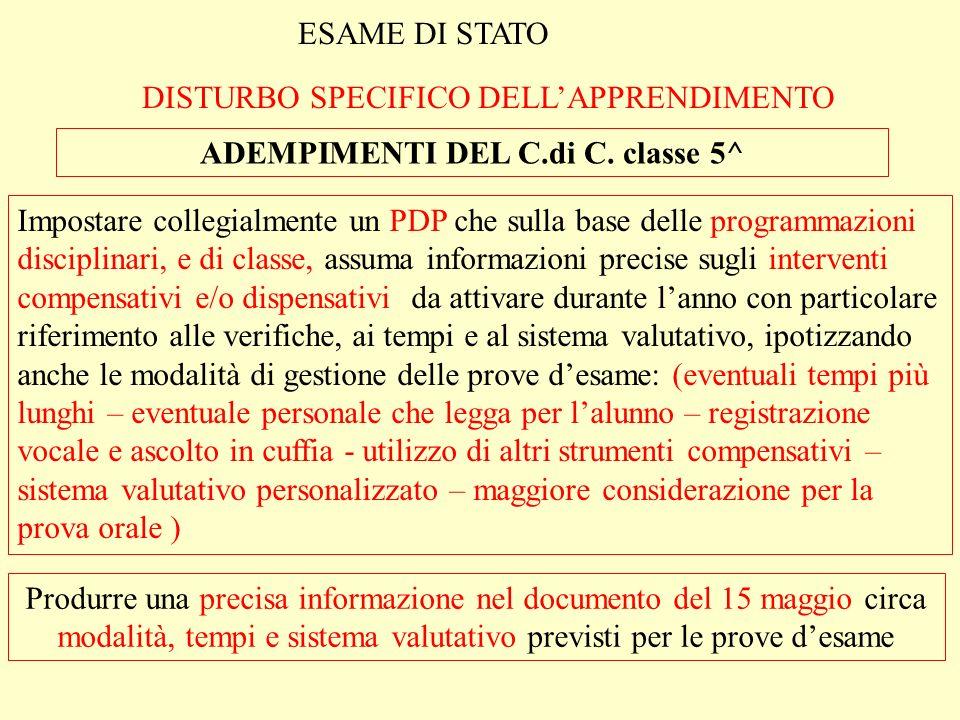 ADEMPIMENTI DEL C.di C. classe 5^