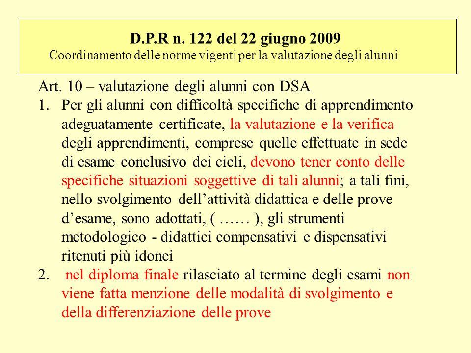 Art. 10 – valutazione degli alunni con DSA