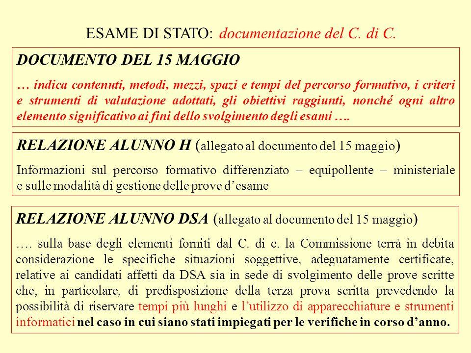 ESAME DI STATO: documentazione del C. di C.