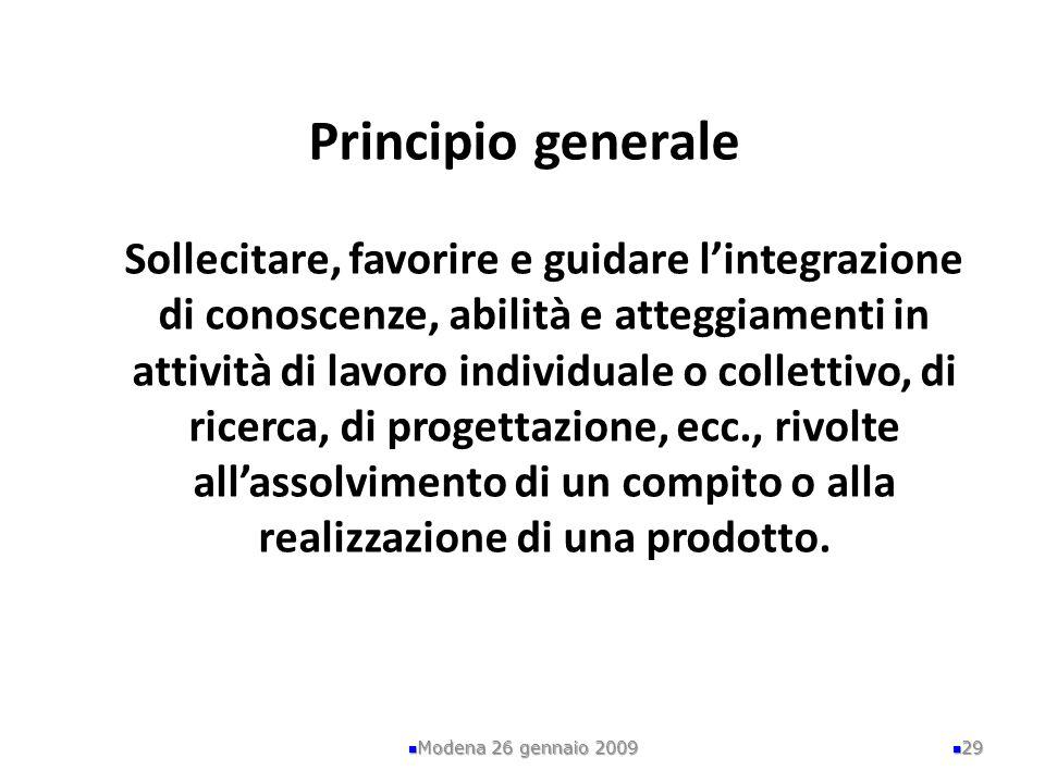 Principio generale Sollecitare, favorire e guidare l'integrazione di conoscenze, abilità e atteggiamenti in attività di lavoro individuale o collettivo, di ricerca, di progettazione, ecc., rivolte all'assolvimento di un compito o alla realizzazione di una prodotto.