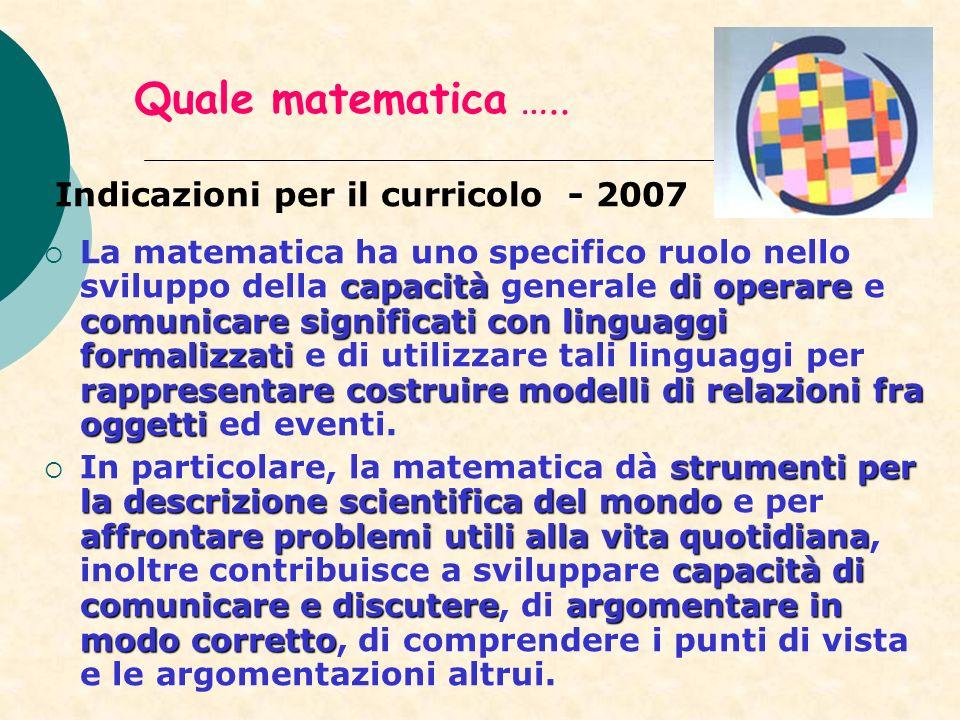 Quale matematica ….. Indicazioni per il curricolo - 2007