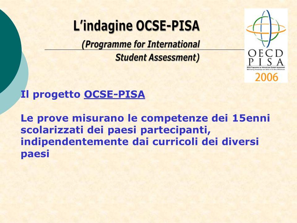 Il progetto OCSE-PISA Le prove misurano le competenze dei 15enni scolarizzati dei paesi partecipanti,