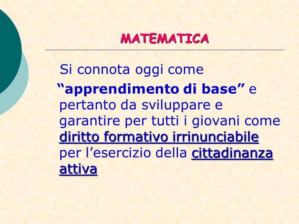 MATEMATICA Si connota oggi come.