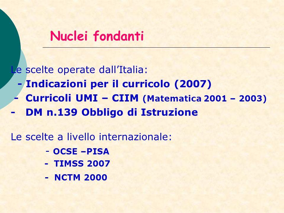 Nuclei fondanti Le scelte operate dall'Italia: