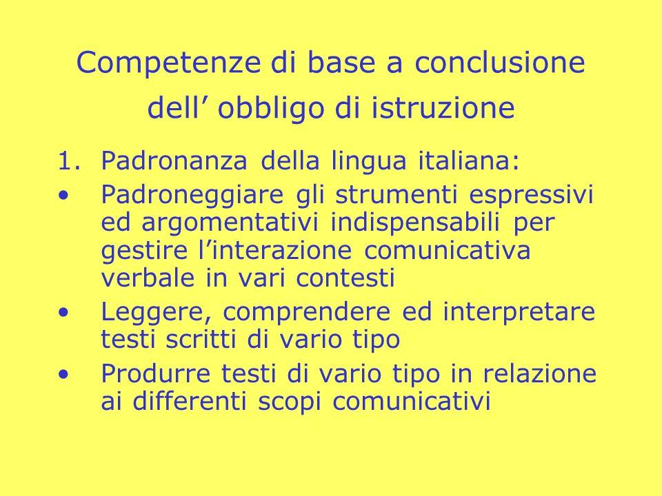Competenze di base a conclusione dell' obbligo di istruzione