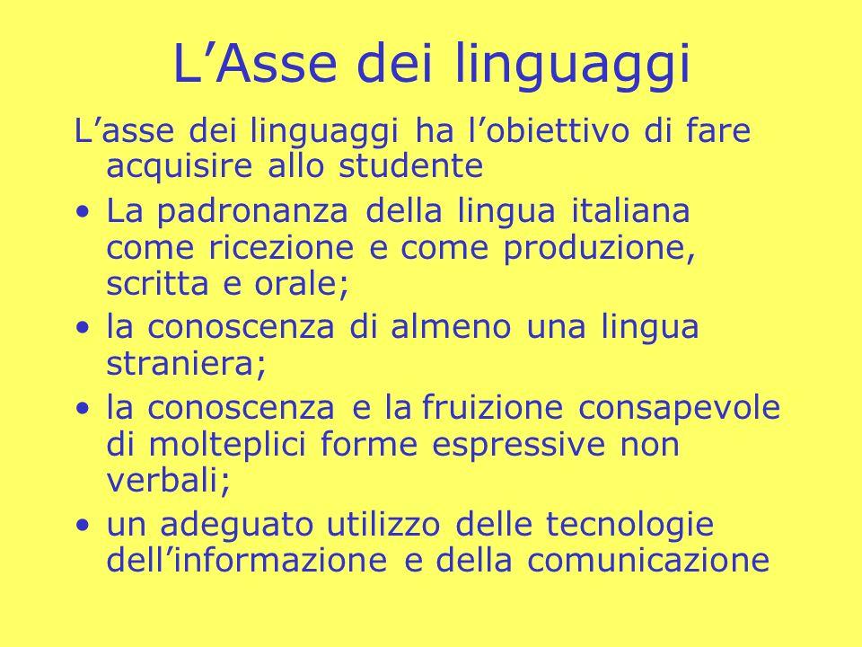 L'Asse dei linguaggi L'asse dei linguaggi ha l'obiettivo di fare acquisire allo studente.