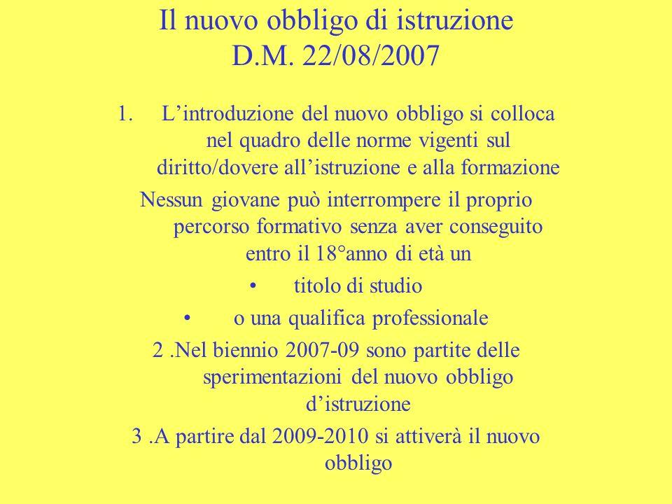 Il nuovo obbligo di istruzione D.M. 22/08/2007