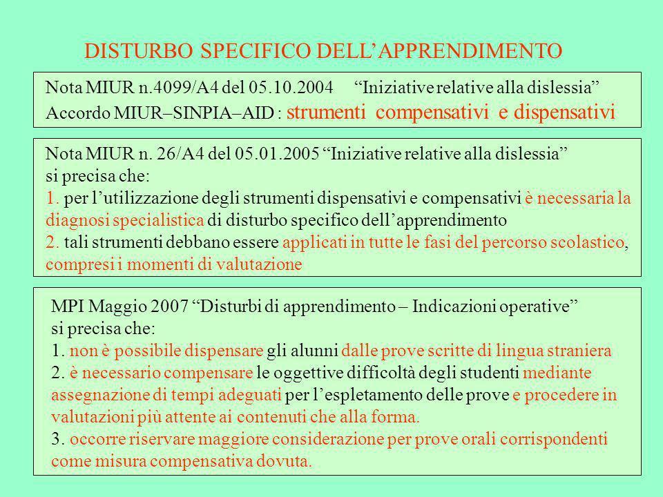 DISTURBO SPECIFICO DELL'APPRENDIMENTO