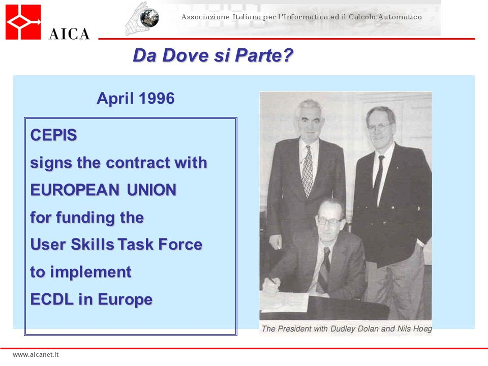 Da Dove si Parte April 1996 CEPIS signs the contract with
