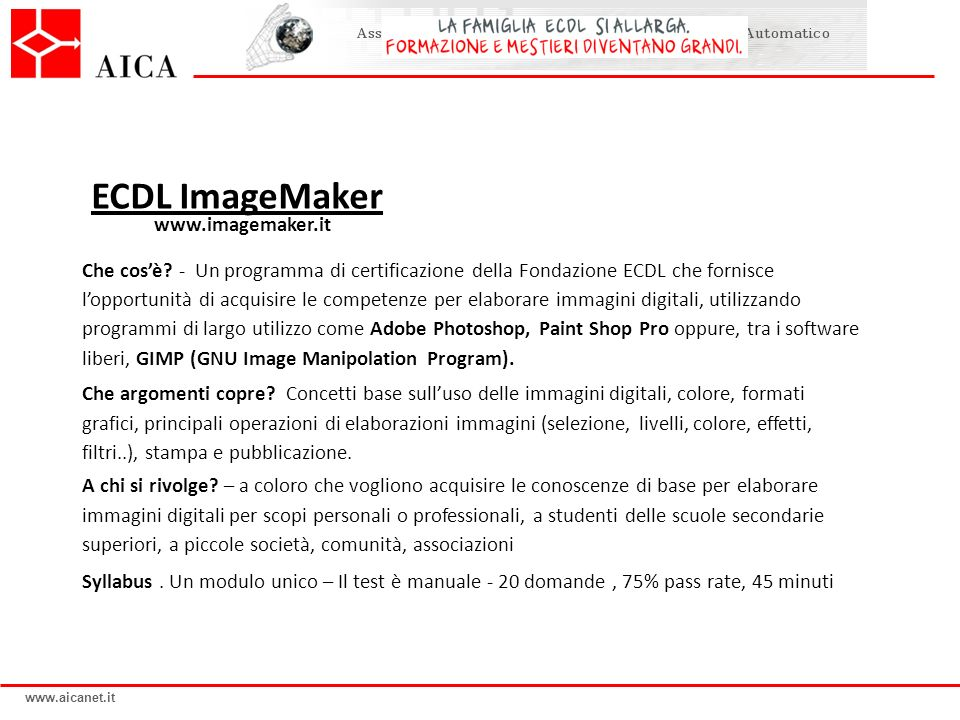 ECDL ImageMaker www.imagemaker.it