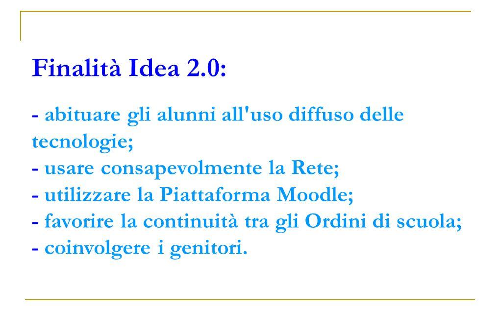 Finalità Idea 2.0: - abituare gli alunni all uso diffuso delle tecnologie; - usare consapevolmente la Rete; - utilizzare la Piattaforma Moodle; - favorire la continuità tra gli Ordini di scuola;