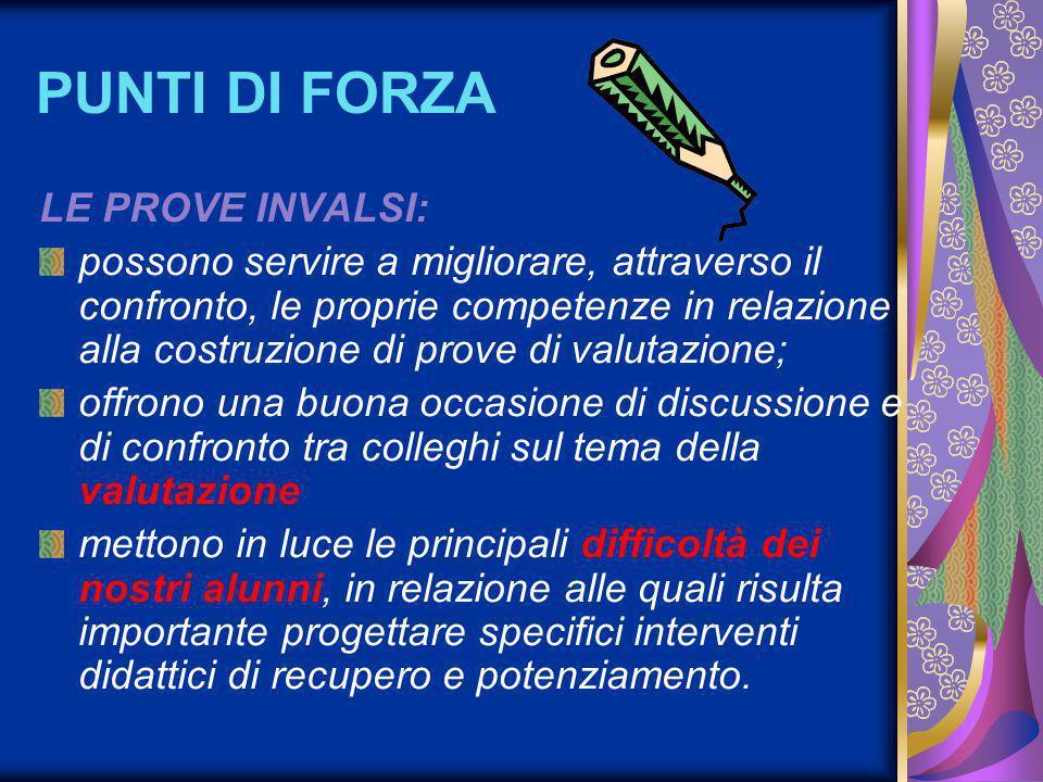 PUNTI DI FORZA LE PROVE INVALSI: