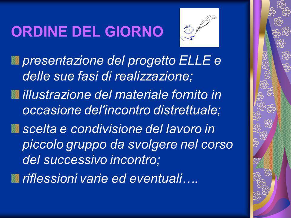 ORDINE DEL GIORNO presentazione del progetto ELLE e delle sue fasi di realizzazione;