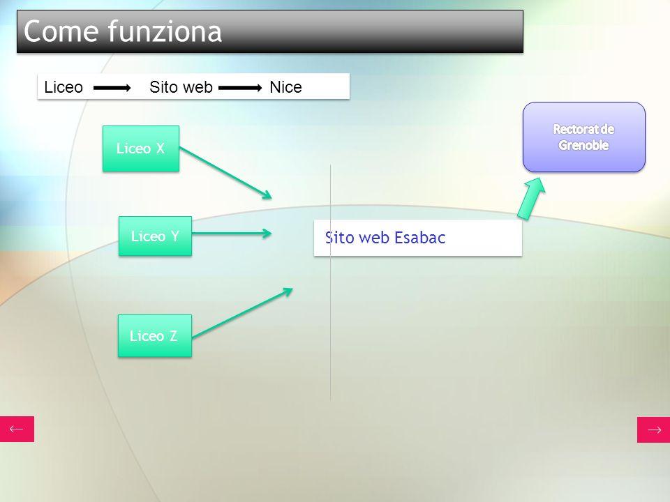 Come funziona Liceo Sito web Nice Sito web Esabac Liceo X Liceo Y