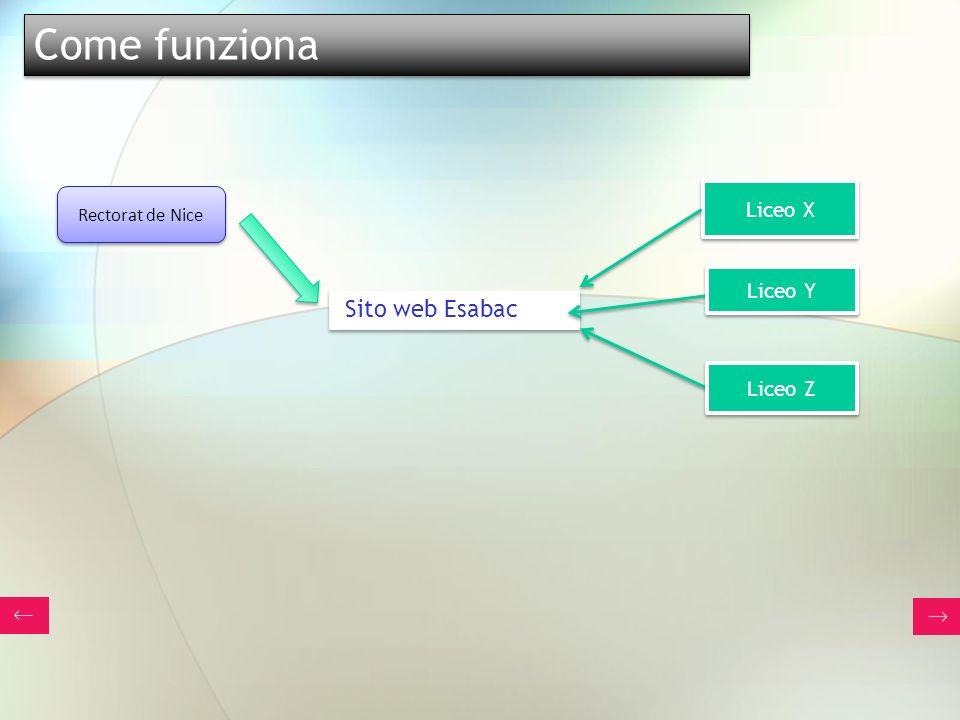 Come funziona Liceo X Rectorat de Nice Liceo Y Sito web Esabac Liceo Z