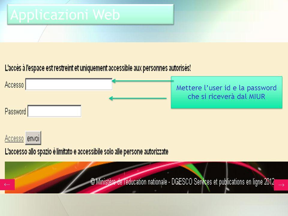 Mettere l'user id e la password che si riceverà dal MIUR