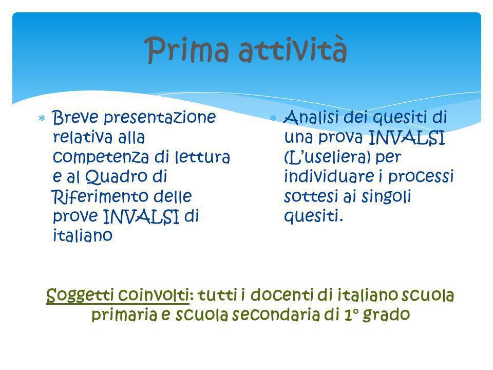 Prima attivitàBreve presentazione relativa alla competenza di lettura e al Quadro di Riferimento delle prove INVALSI di italiano.