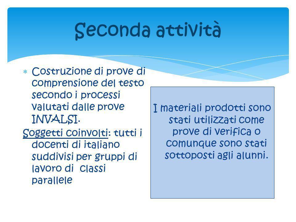 Seconda attività Costruzione di prove di comprensione del testo secondo i processi valutati dalle prove INVALSI.