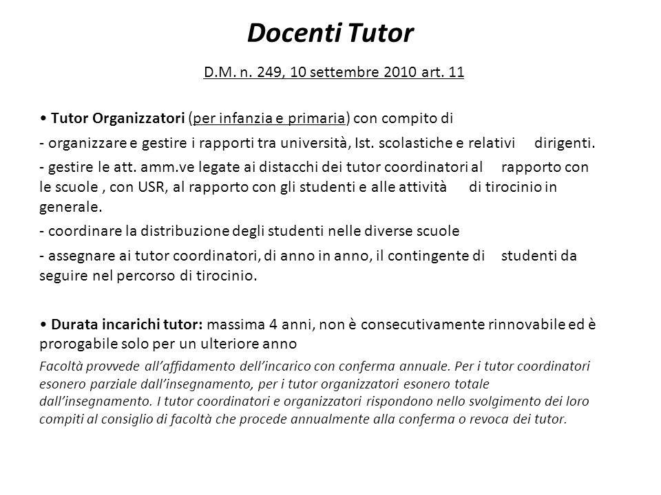 Docenti Tutor D.M. n. 249, 10 settembre 2010 art. 11