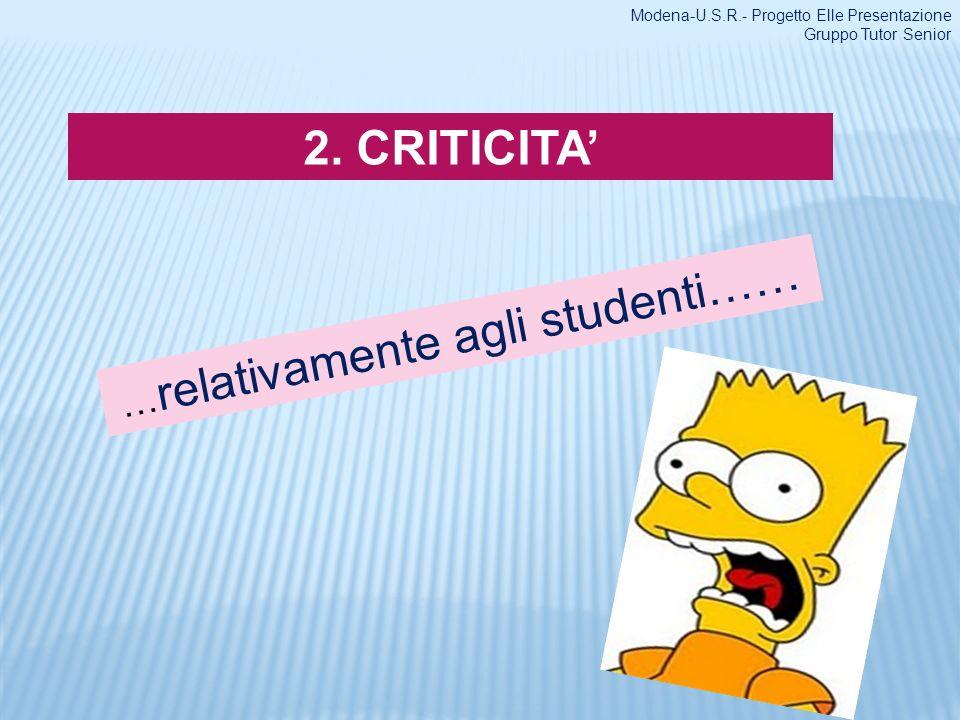 …relativamente agli studenti……