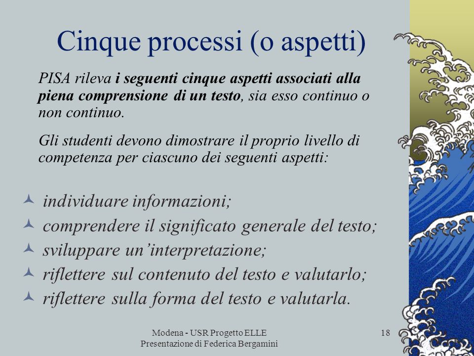 Cinque processi (o aspetti)