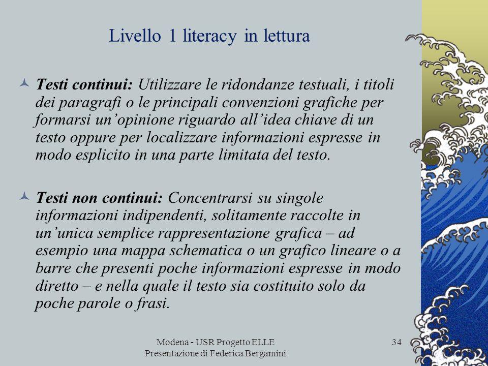 Livello 1 literacy in lettura