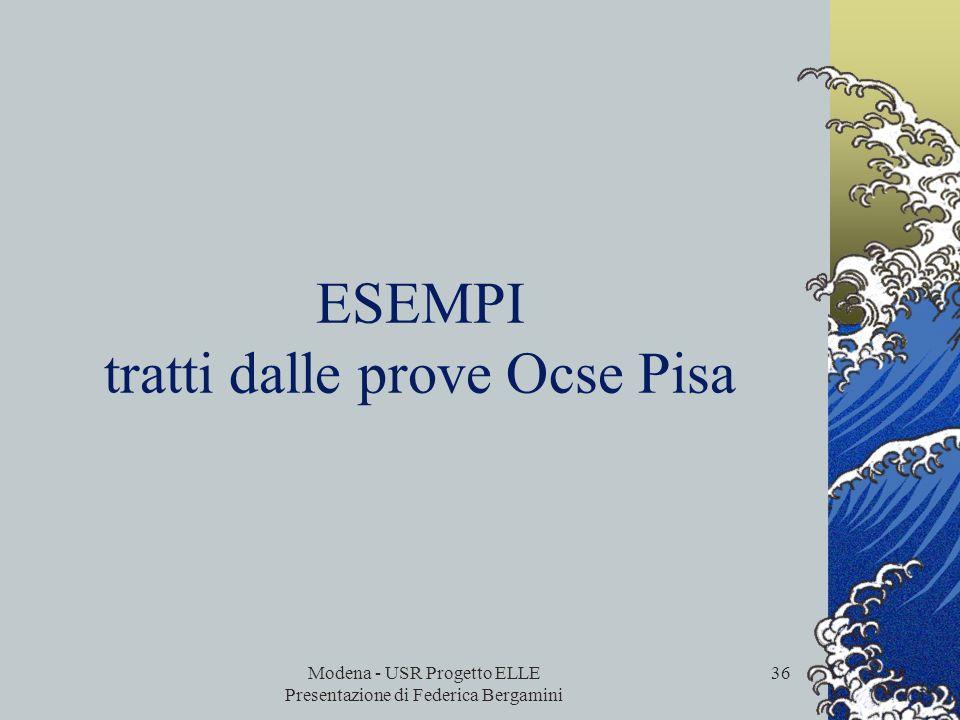 ESEMPI tratti dalle prove Ocse Pisa