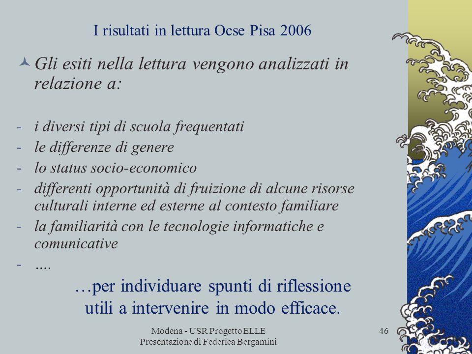 I risultati in lettura Ocse Pisa 2006