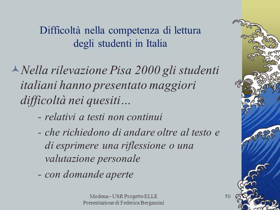 Difficoltà nella competenza di lettura degli studenti in Italia