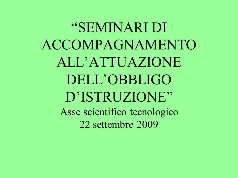 SEMINARI DI ACCOMPAGNAMENTO ALL'ATTUAZIONE DELL'OBBLIGO D'ISTRUZIONE Asse scientifico tecnologico 22 settembre 2009