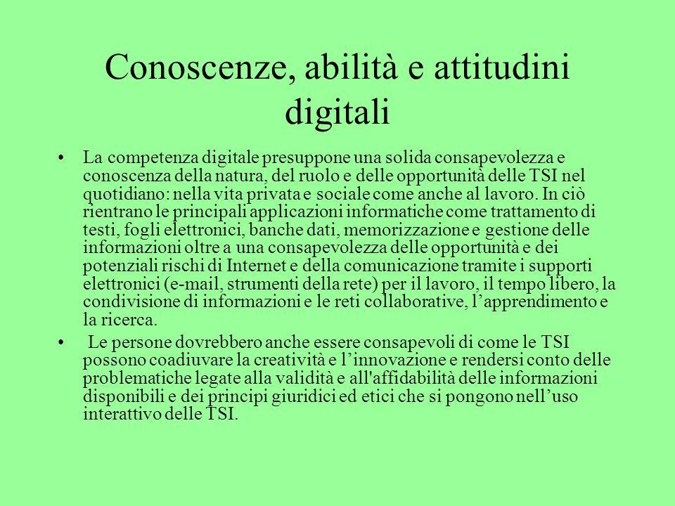 Conoscenze, abilità e attitudini digitali