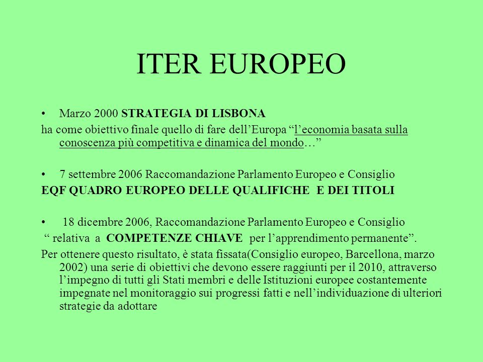 ITER EUROPEO Marzo 2000 STRATEGIA DI LISBONA