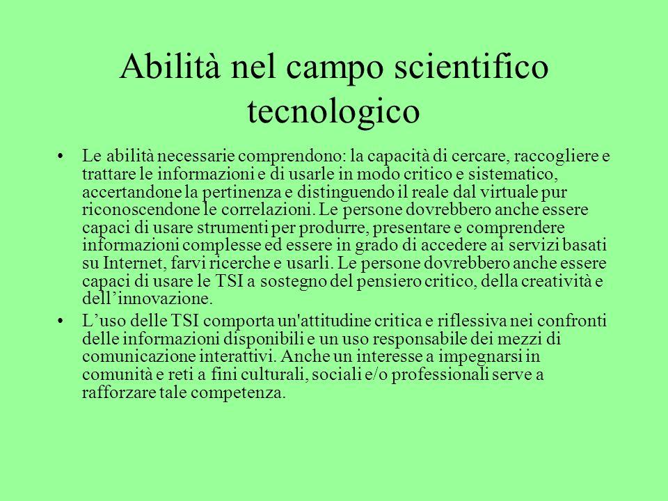 Abilità nel campo scientifico tecnologico