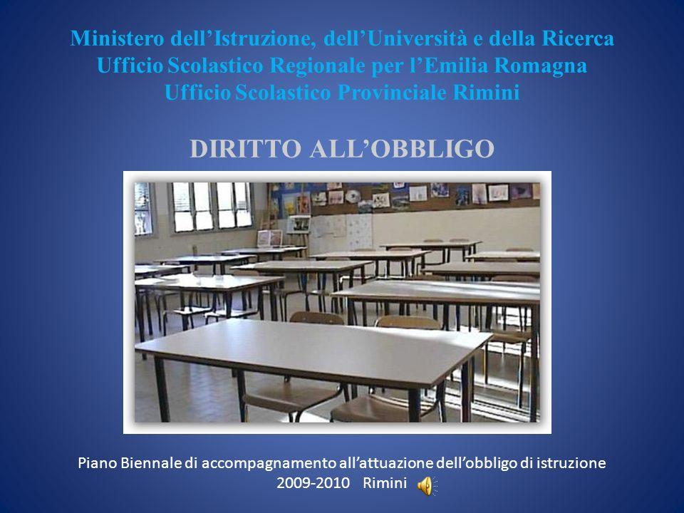 Ministero dell'Istruzione, dell'Università e della Ricerca Ufficio Scolastico Regionale per l'Emilia Romagna Ufficio Scolastico Provinciale Rimini DIRITTO ALL'OBBLIGO Piano Biennale di accompagnamento all'attuazione dell'obbligo di istruzione 2009-2010 Rimini