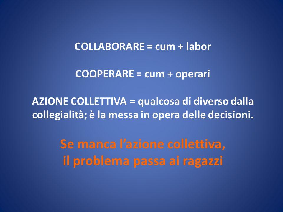 COLLABORARE = cum + labor COOPERARE = cum + operari AZIONE COLLETTIVA = qualcosa di diverso dalla collegialità; è la messa in opera delle decisioni.