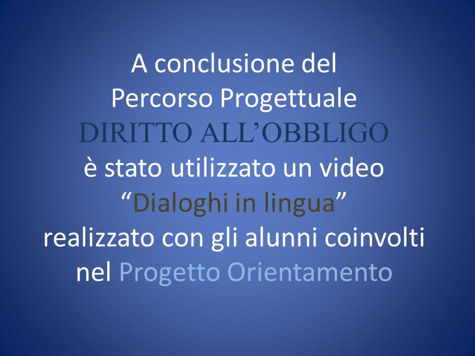A conclusione del Percorso Progettuale DIRITTO ALL'OBBLIGO è stato utilizzato un video Dialoghi in lingua realizzato con gli alunni coinvolti nel Progetto Orientamento