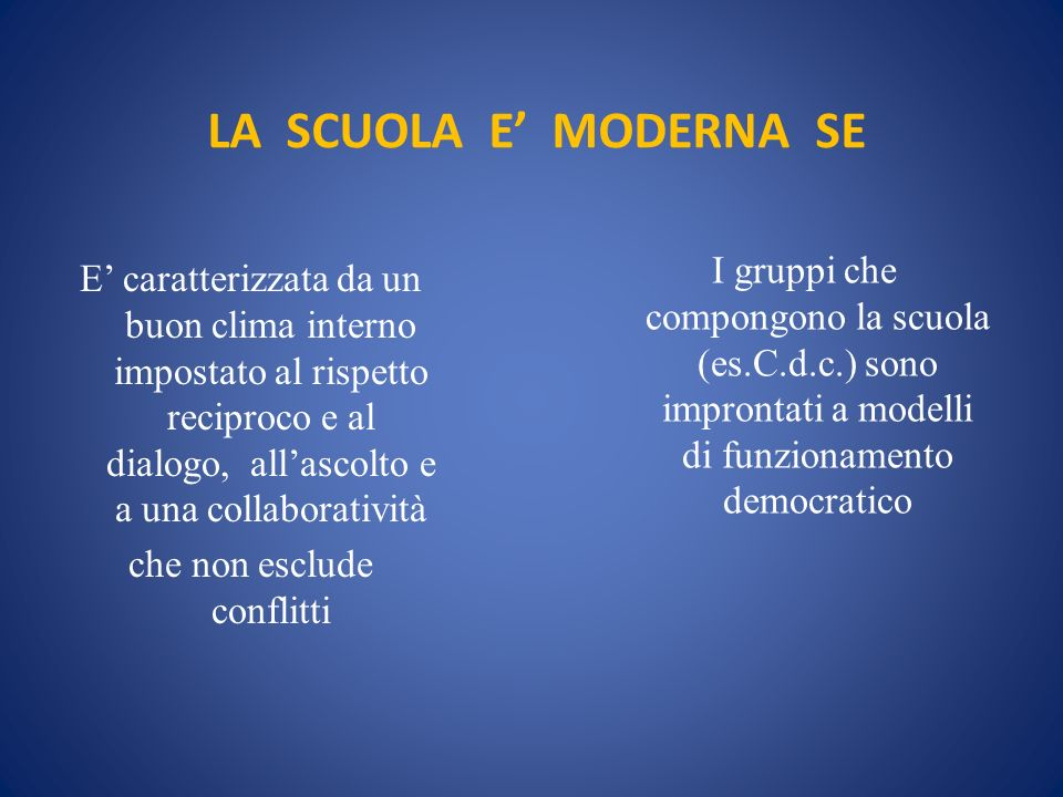 LA SCUOLA E' MODERNA SE I gruppi che compongono la scuola (es.C.d.c.) sono improntati a modelli di funzionamento democratico.