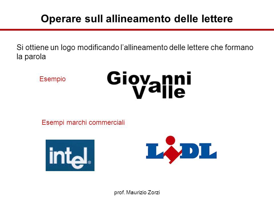 Operare sull allineamento delle lettere