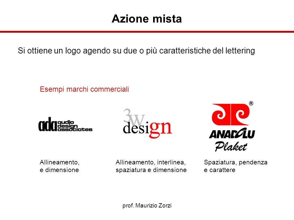 Azione mista Si ottiene un logo agendo su due o più caratteristiche del lettering. Esempi marchi commerciali.